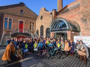 Group photo of all guests that attended the Scotland Starts Here Launch with Go-Where Scotland and Beirhope Alpacas and Steel Bonnets at the National Mining Museum